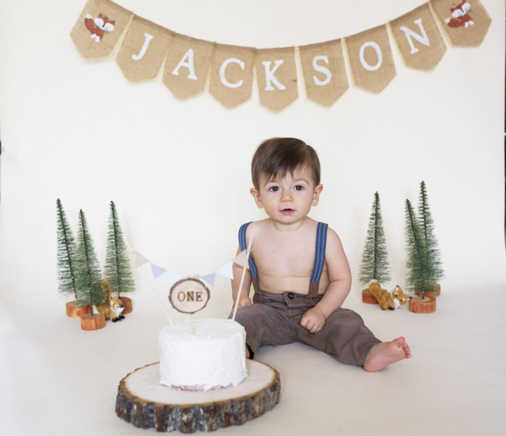 Fantastic Woodland First Birthday Cake Smash Virginia Beach Photographer Funny Birthday Cards Online Sheoxdamsfinfo